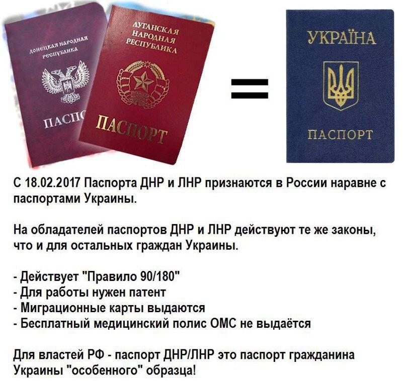 Паспорта ДНР и ЛНР приравняли к украинским